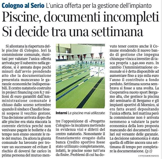 Progettocologno cooperativa nuoto citt alta archivi progettocologno - Piscina comunale treviglio ...
