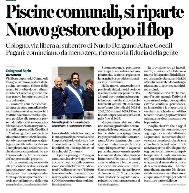 L'Eco di Bergamo 6 agosto