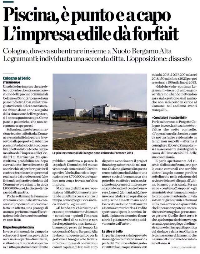 Progettocologno sul fallimento dell 39 operazione di subentro co edil si ritira progettocologno - Piscina comunale treviglio ...