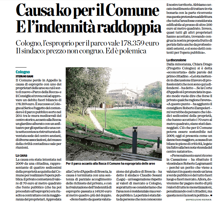 L'Eco di Bergamo del 26 ottobre 2014