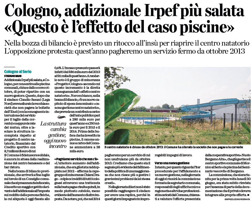 L'Eco di Bergamo 10 luglio 2014