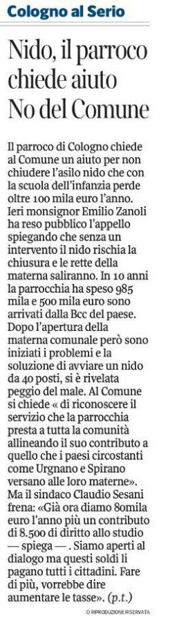 Corriere della Sera - Bergamo - 12 settembre 2014